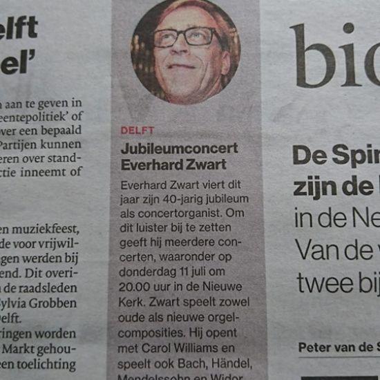 Everhard Zwart 40 jaar organist